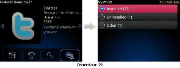 ... aplikasi BlackBerry yang telah kita download ke BlackBerry kita